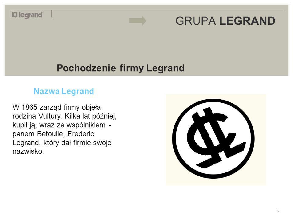 LEGRAND IN 2009 GRUPA LEGRAND Pochodzenie firmy Legrand Nazwa Legrand W 1865 zarząd firmy objęła rodzina Vultury.