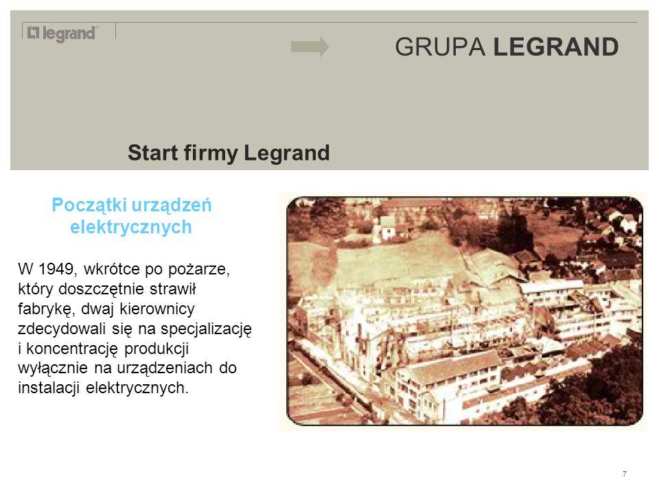 LEGRAND IN 2009 GRUPA LEGRAND Start firmy Legrand Początki urządzeń elektrycznych W 1949, wkrótce po pożarze, który doszczętnie strawił fabrykę, dwaj kierownicy zdecydowali się na specjalizację i koncentrację produkcji wyłącznie na urządzeniach do instalacji elektrycznych.