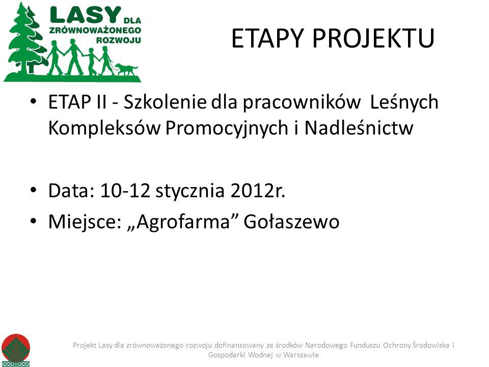 ETAPY PROJEKTU ETAP II - Szkolenie dla pracowników Leśnych Kompleksów Promocyjnych i Nadleśnictw Data: 10-12 stycznia 2012r.