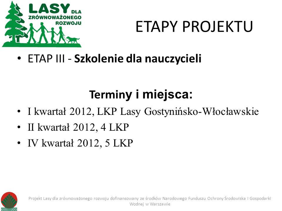 ETAPY PROJEKTU ETAP III - Szkolenie dla nauczycieli Termin y i miejsca: I kwartał 2012, LKP Lasy Gostynińsko-Włocławskie II kwartał 2012, 4 LKP IV kwartał 2012, 5 LKP Projekt Lasy dla zrównoważonego rozwoju dofinansowany ze środków Narodowego Funduszu Ochrony Środowiska i Gospodarki Wodnej w Warszawie