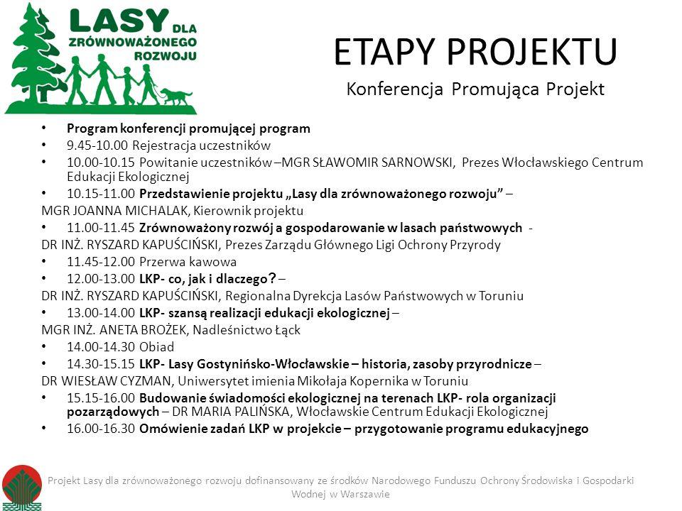 ETAPY PROJEKTU Konferencja Promująca Projekt Program konferencji promującej program 9.45-10.00 Rejestracja uczestników 10.00-10.15 Powitanie uczestników –MGR SŁAWOMIR SARNOWSKI, Prezes Włocławskiego Centrum Edukacji Ekologicznej 10.15-11.00 Przedstawienie projektu Lasy dla zrównoważonego rozwoju – MGR JOANNA MICHALAK, Kierownik projektu 11.00-11.45 Zrównoważony rozwój a gospodarowanie w lasach państwowych - DR INŻ.
