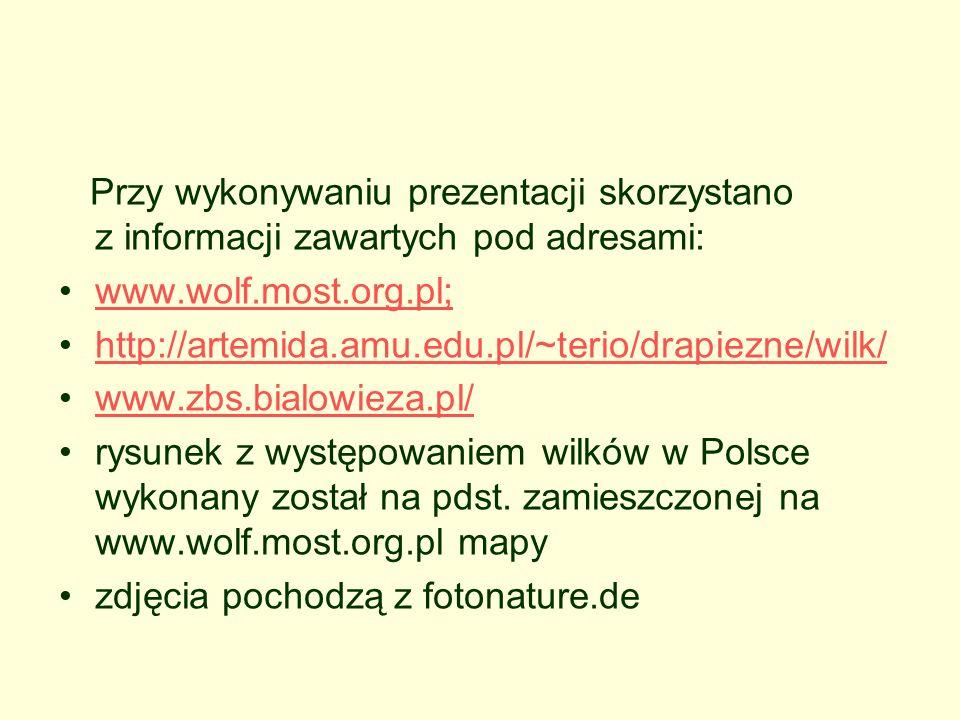 Przy wykonywaniu prezentacji skorzystano z informacji zawartych pod adresami: www.wolf.most.org.pl; http://artemida.amu.edu.pl/~terio/drapiezne/wilk/ www.zbs.bialowieza.pl/ rysunek z występowaniem wilków w Polsce wykonany został na pdst.