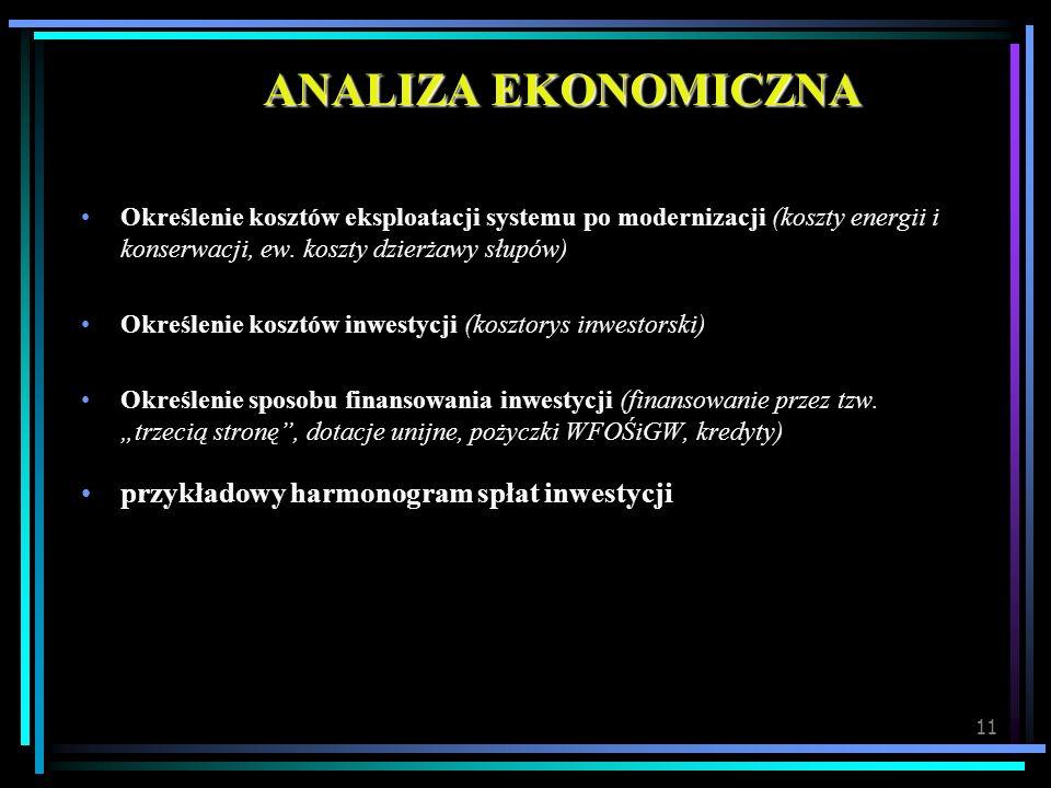 11 ANALIZA EKONOMICZNA Określenie kosztów eksploatacji systemu po modernizacji (koszty energii i konserwacji, ew. koszty dzierżawy słupów) Określenie
