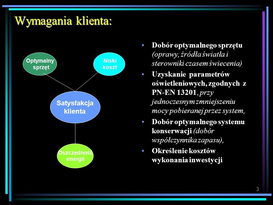 4 * Inwentaryzacja istniejącego systemu oświetlenia * Uzyskanie od ZE warunków wykonania modernizacji * Dobór sprzętu (oprawy, źródła światła, sterowniki oraz osprzęt) * Dobór systemu konserwacji (wyliczenie współczynnika zapasu) * Projekt oświetleniowy (uzgodnienie z Zakładem Energetycznym) * Analiza (koszty eksploatacji systemu po modernizacji oraz koszty inwestycji – kosztorys inwestorski) * Szczegółowa Specyfikacja Techniczna Wykonania i Odbioru Robót * Specyfikacja Istotnych Warunków Zamówienia * Przetarg na wykonanie inwestycji * Odbiór wykonanych prac (nadzór autorski projektanta, pomiary parametrów) Sposób realizacji: