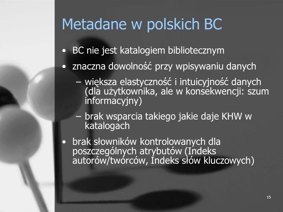15 Metadane w polskich BC BC nie jest katalogiem bibliotecznym znaczna dowolność przy wpisywaniu danych –większa elastyczność i intuicyjność danych (d