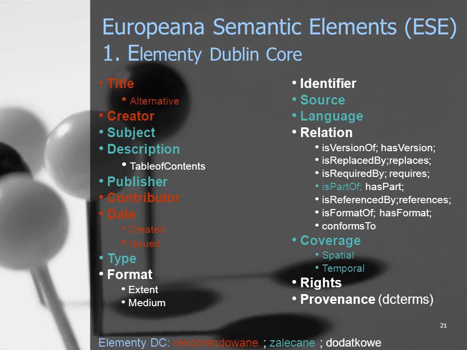 21 Europeana Semantic Elements (ESE) 1. E lementy Dublin Core Title Alternative Creator Subject Description TableofContents Publisher Contributor Date