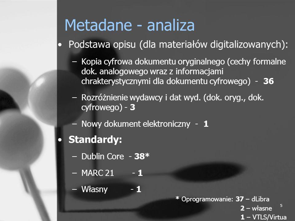 16 Metadane w polskich BC różnice w interpretacji poszczególnych elementów DC (przy zachowaniu jednorodengo nazewnictwa elementów) nierównoważne informacje w tym samym elemencie informacja tego samego typu w wielu różnych elementach przypadki umieszczania wielu wartości w jednym elemencie jako ciągłego tekstu (brak powtórzeń elementu – brak możliwości wyszukiwania po wartości) umieszczanie wielu informacji poza DC – lokalność informacji