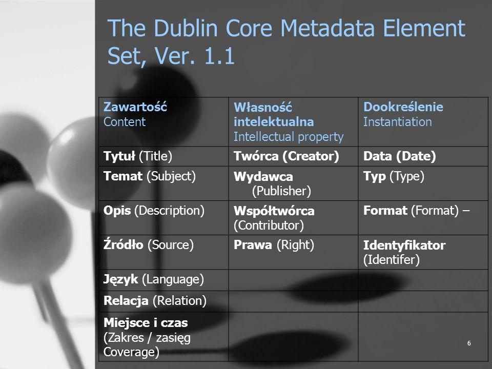 6 The Dublin Core Metadata Element Set, Ver. 1.1 Zawartość Content Własność intelektualna Intellectual property Dookreślenie Instantiation Tytuł (Titl