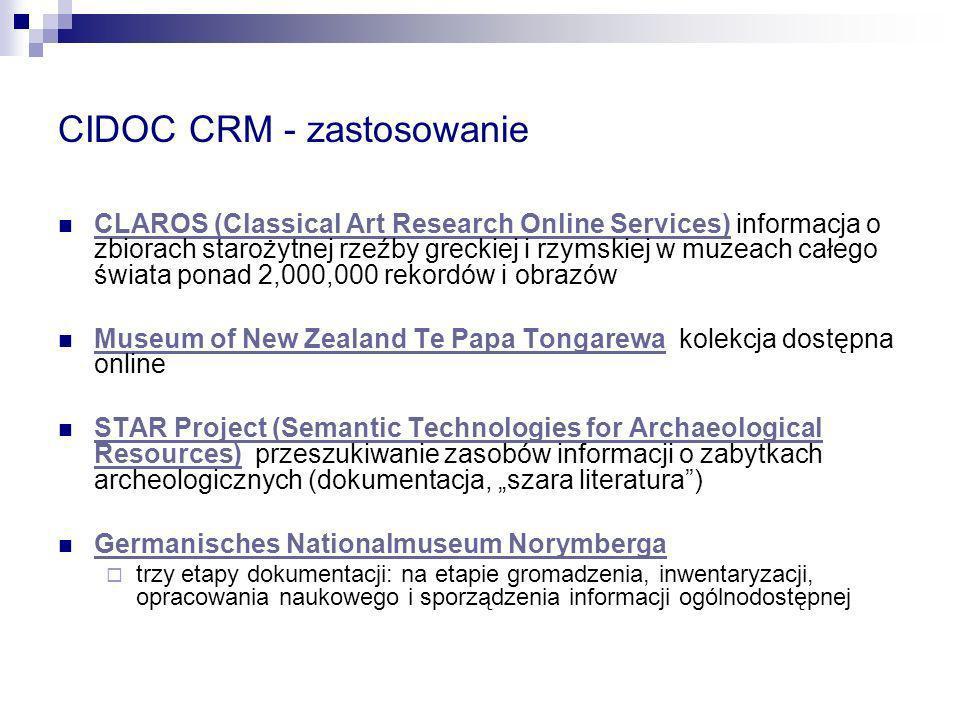 CIDOC CRM - zastosowanie CLAROS (Classical Art Research Online Services) informacja o zbiorach starożytnej rzeźby greckiej i rzymskiej w muzeach całeg