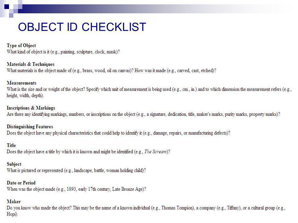 OBJECT ID CHECKLIST