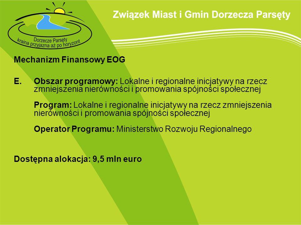 Mechanizm Finansowy EOG E.Obszar programowy: Lokalne i regionalne inicjatywy na rzecz zmniejszenia nierówności i promowania spójności społecznej Progr