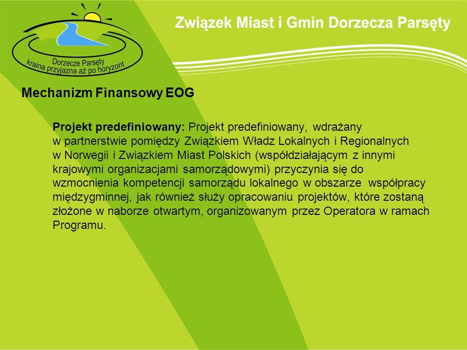 Mechanizm Finansowy EOG Projekt predefiniowany: Projekt predefiniowany, wdrażany w partnerstwie pomiędzy Związkiem Władz Lokalnych i Regionalnych w No