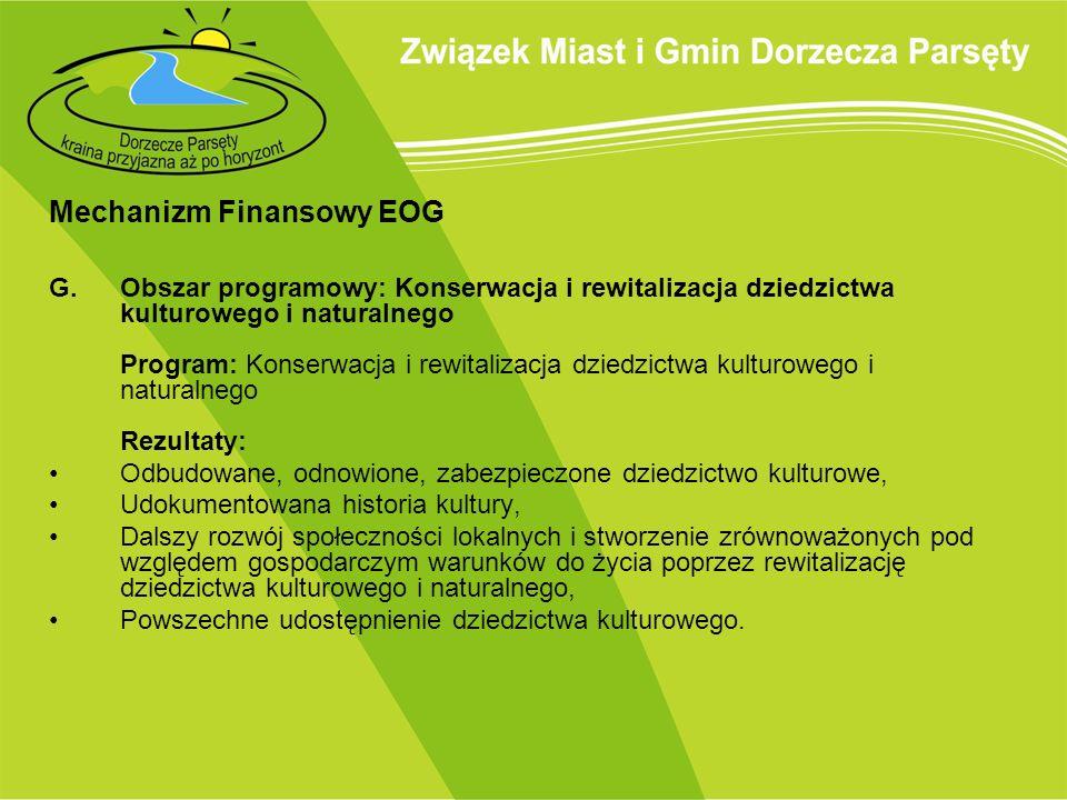 Mechanizm Finansowy EOG G. Obszar programowy: Konserwacja i rewitalizacja dziedzictwa kulturowego i naturalnego Program: Konserwacja i rewitalizacja d