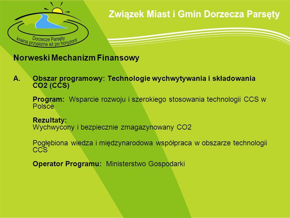 Norweski Mechanizm Finansowy A.Obszar programowy: Technologie wychwytywania i składowania CO2 (CCS) Program: Wsparcie rozwoju i szerokiego stosowania