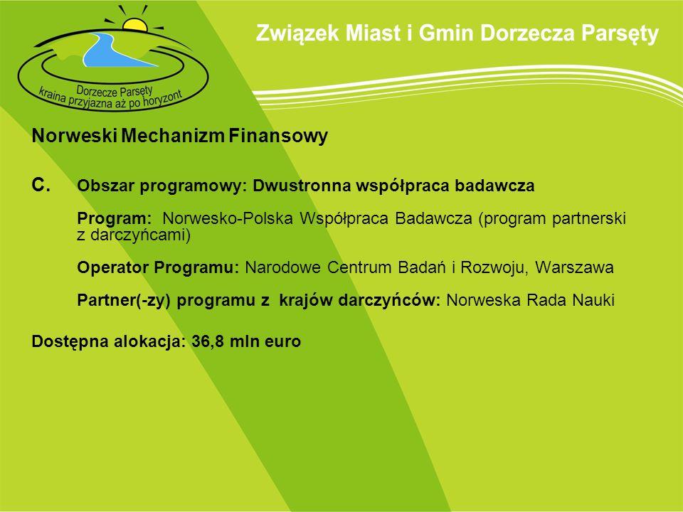 Norweski Mechanizm Finansowy C. Obszar programowy: Dwustronna współpraca badawcza Program: Norwesko-Polska Współpraca Badawcza (program partnerski z d