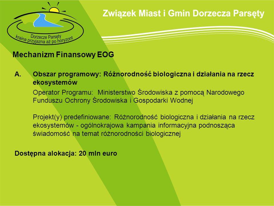 Mechanizm Finansowy EOG A.Obszar programowy: Różnorodność biologiczna i działania na rzecz ekosystemów Operator Programu: Ministerstwo Środowiska z po