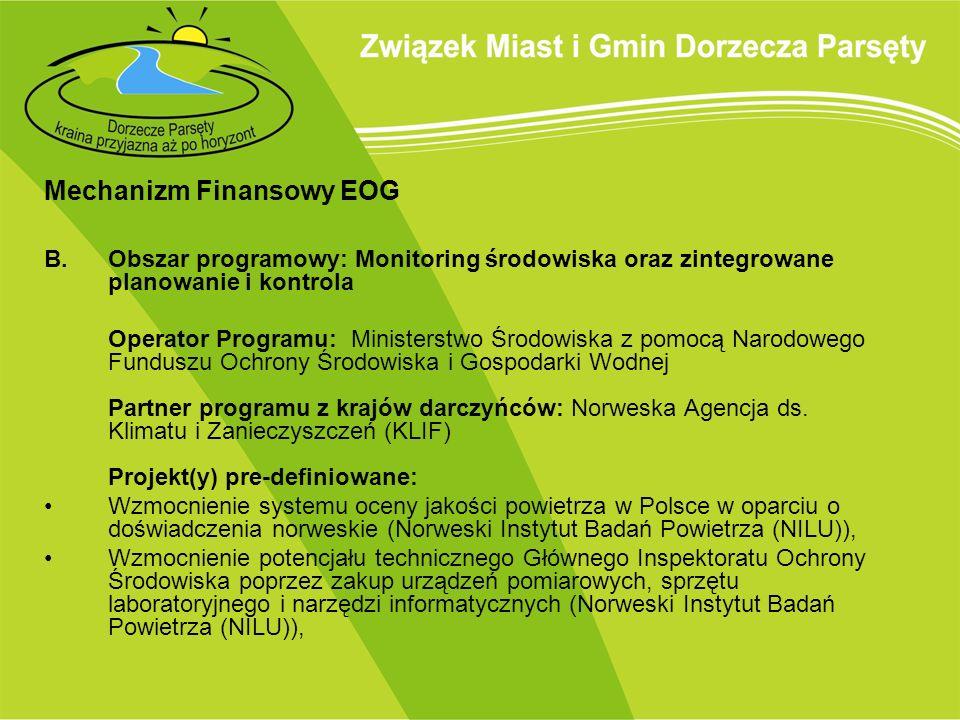 Mechanizm Finansowy EOG B.Obszar programowy: Monitoring środowiska oraz zintegrowane planowanie i kontrola Operator Programu: Ministerstwo Środowiska