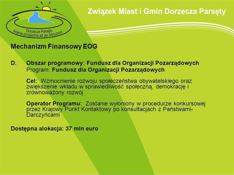 Mechanizm Finansowy EOG E.Obszar programowy: Lokalne i regionalne inicjatywy na rzecz zmniejszenia nierówności i promowania spójności społecznej Program: Lokalne i regionalne inicjatywy na rzecz zmniejszenia nierówności i promowania spójności społecznej Operator Programu: Ministerstwo Rozwoju Regionalnego Dostępna alokacja: 9,5 mln euro