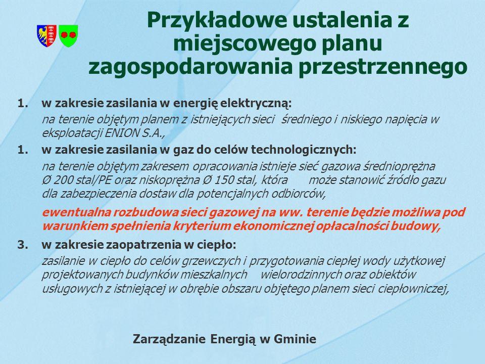 Przykładowe ustalenia z miejscowego planu zagospodarowania przestrzennego 1.w zakresie zasilania w energię elektryczną: na terenie objętym planem z is