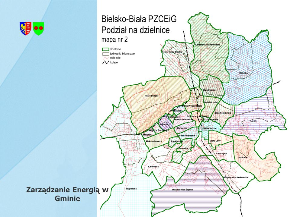 Przykładowe ustalenia z miejscowego planu zagospodarowania przestrzennego 1.w zakresie zasilania w energię elektryczną: na terenie objętym planem z istniejących sieci średniego i niskiego napięcia w eksploatacji ENION S.A., 1.w zakresie zasilania w gaz do celów technologicznych: na terenie objętym zakresem opracowania istnieje sieć gazowa średnioprężna Ø 200 stal/PE oraz niskoprężna Ø 150 stal, która może stanowić źródło gazu dla zabezpieczenia dostaw dla potencjalnych odbiorców, Zarządzanie Energią w Gminie 3.w zakresie zaopatrzenia w ciepło: zasilanie w ciepło do celów grzewczych i przygotowania ciepłej wody użytkowej projektowanych budynków mieszkalnych wielorodzinnych oraz obiektów usługowych z istniejącej w obrębie obszaru objętego planem sieci ciepłowniczej, ewentualna rozbudowa sieci gazowej na ww.