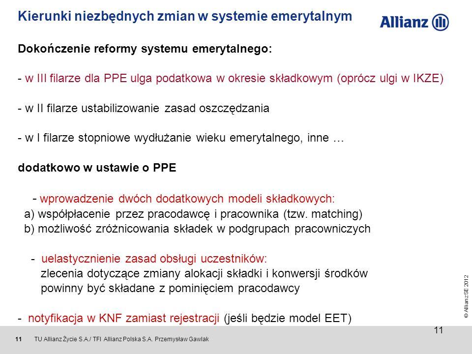 © Allianz SE 2012 TU Allianz Życie S.A./ TFI Allianz Polska S.A. Przemysław Gawlak 11 Kierunki niezbędnych zmian w systemie emerytalnym Dokończenie re
