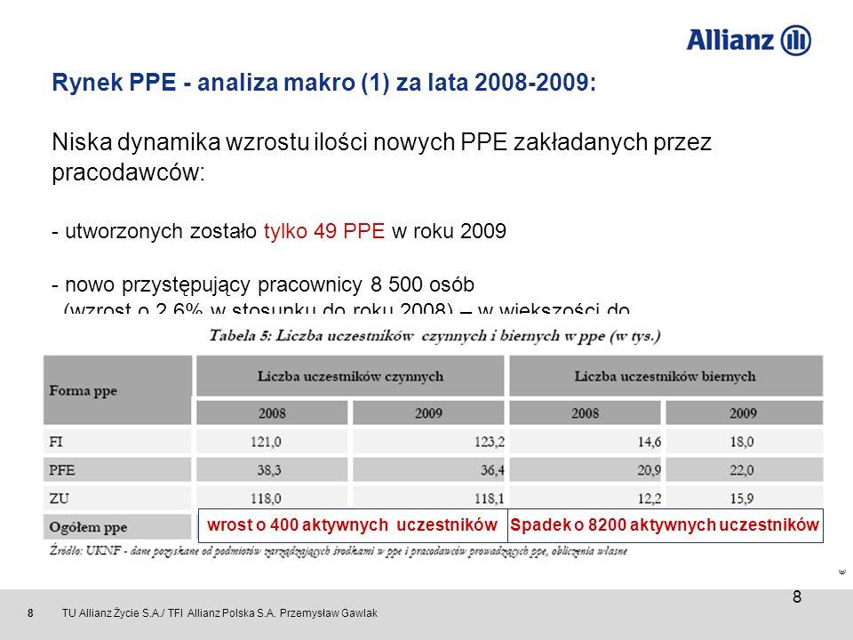 © Allianz SE 2012 TU Allianz Życie S.A./ TFI Allianz Polska S.A. Przemysław Gawlak 8 Rynek PPE - analiza makro (1) za lata 2008-2009: Niska dynamika w