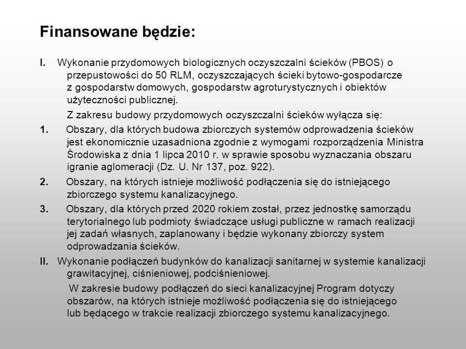 Finansowane będzie: I. Wykonanie przydomowych biologicznych oczyszczalni ścieków (PBOS) o przepustowości do 50 RLM, oczyszczających ścieki bytowo-gosp