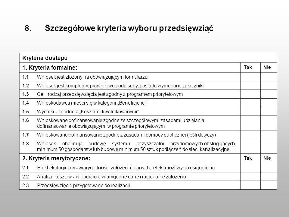 8. Szczegółowe kryteria wyboru przedsięwziąć Kryteria dostępu 1. Kryteria formalne: TakNie 1.1Wniosek jest złożony na obowiązującym formularzu 1.2Wnio