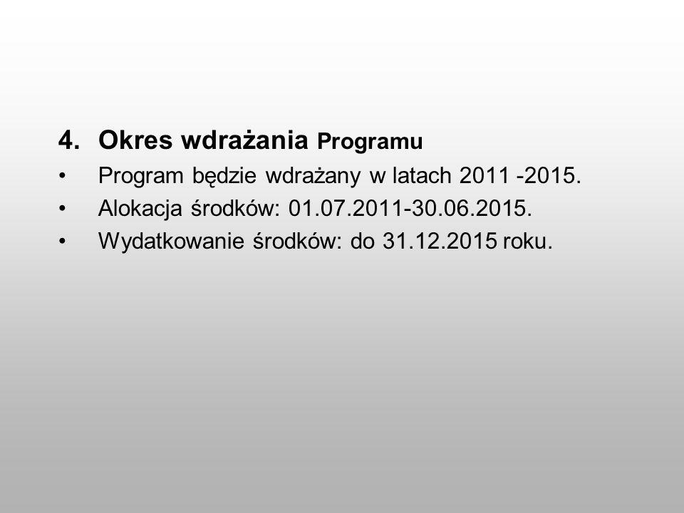 4.Okres wdrażania Programu Program będzie wdrażany w latach 2011 -2015. Alokacja środków: 01.07.2011-30.06.2015. Wydatkowanie środków: do 31.12.2015 r