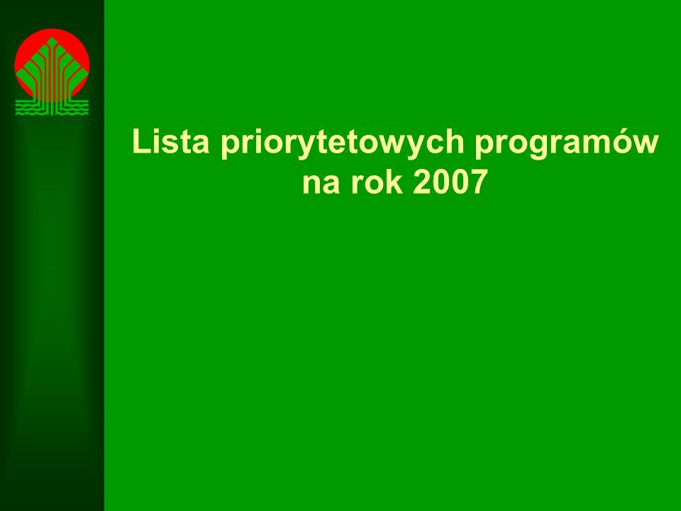 Lista priorytetowych programów na rok 2007