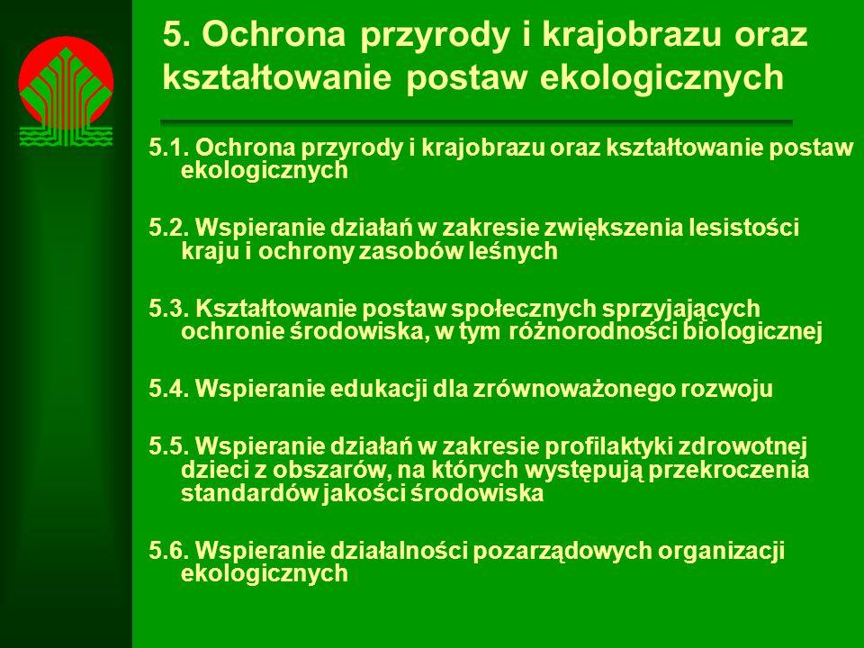 5.Ochrona przyrody i krajobrazu oraz kształtowanie postaw ekologicznych 5.1.