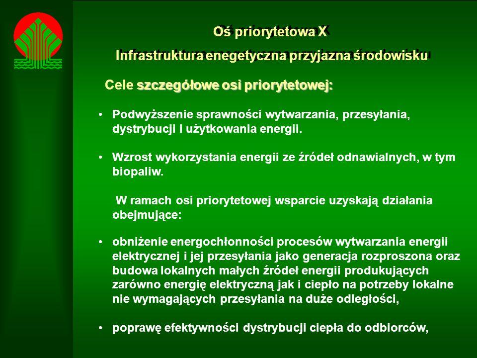Oś priorytetowa X Infrastruktura enegetyczna przyjazna środowisku Oś priorytetowa X Infrastruktura enegetyczna przyjazna środowisku szczegółowe osi priorytetowej: Cele szczegółowe osi priorytetowej: Podwyższenie sprawności wytwarzania, przesyłania, dystrybucji i użytkowania energii.