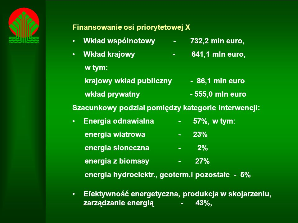 Finansowanie osi priorytetowej X Wkład wspólnotowy - 732,2 mln euro, Wkład krajowy - 641,1 mln euro, w tym: krajowy wkład publiczny - 86,1 mln euro wkład prywatny - 555,0 mln euro Szacunkowy podział pomiędzy kategorie interwencji: Energia odnawialna - 57%, w tym: energia wiatrowa - 23% energia słoneczna - 2% energia z biomasy - 27% energia hydroelektr., geoterm.i pozostałe - 5% Efektywność energetyczna, produkcja w skojarzeniu, zarządzanie energią - 43%,
