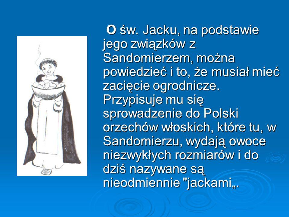 O św. Jacku, na podstawie jego związków z Sandomierzem, można powiedzieć i to, że musiał mieć zacięcie ogrodnicze. Przypisuje mu się sprowadzenie do P