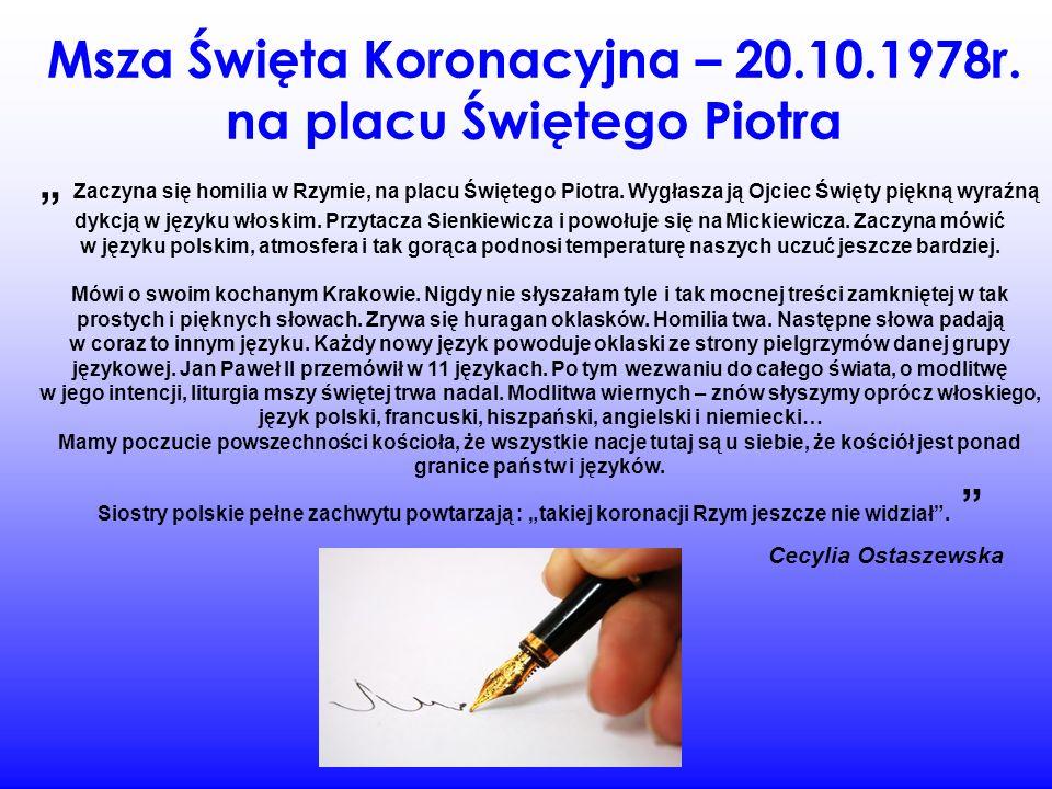 Słowa kardynała Stefana Wyszyńskiego.Radio Watykańskie – 17.10.1978r.