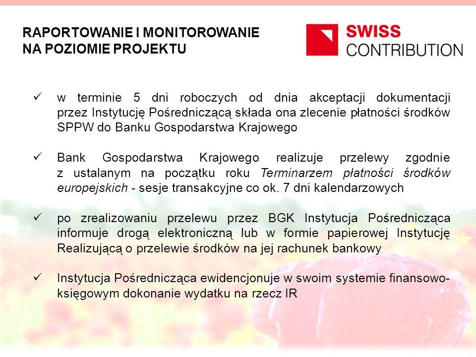 RAPORTOWANIE I MONITOROWANIE NA POZIOMIE PROJEKTU w terminie 5 dni roboczych od dnia akceptacji dokumentacji przez Instytucję Pośredniczącą składa ona zlecenie płatności środków SPPW do Banku Gospodarstwa Krajowego Bank Gospodarstwa Krajowego realizuje przelewy zgodnie z ustalanym na początku roku Terminarzem płatności środków europejskich - sesje transakcyjne co ok.