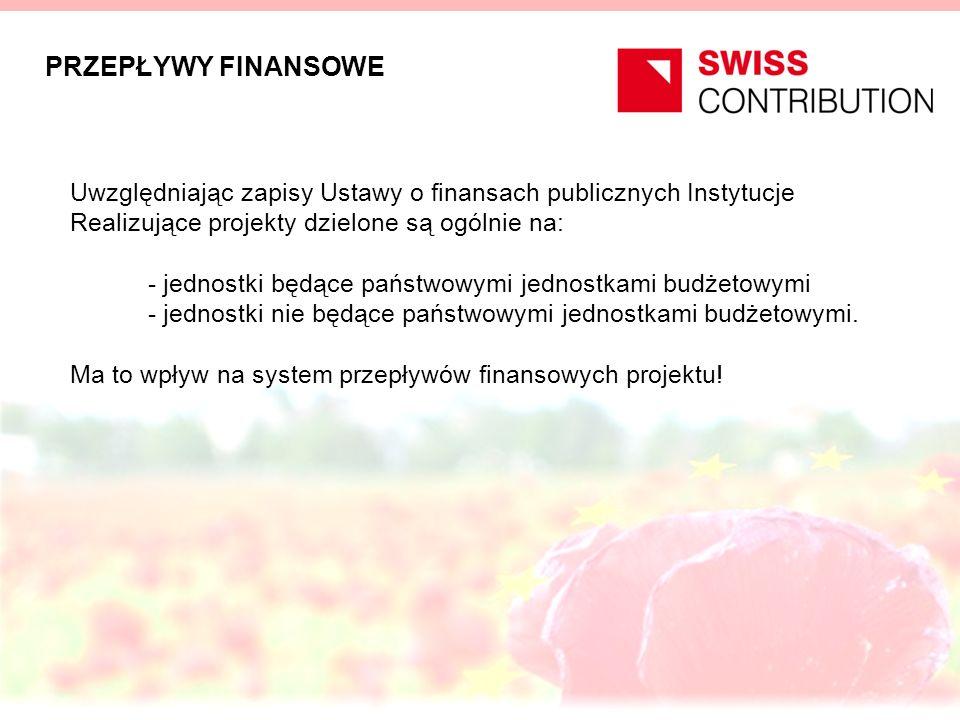 PRZEPŁYWY FINANSOWE Uwzględniając zapisy Ustawy o finansach publicznych Instytucje Realizujące projekty dzielone są ogólnie na: - jednostki będące państwowymi jednostkami budżetowymi - jednostki nie będące państwowymi jednostkami budżetowymi.