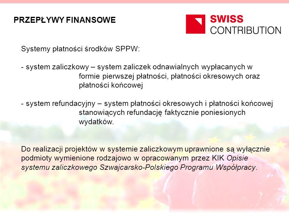 PRZEPŁYWY FINANSOWE Systemy płatności środków SPPW: - system zaliczkowy – system zaliczek odnawialnych wypłacanych w formie pierwszej płatności, płatności okresowych oraz płatności końcowej - system refundacyjny – system płatności okresowych i płatności końcowej stanowiących refundację faktycznie poniesionych wydatków.