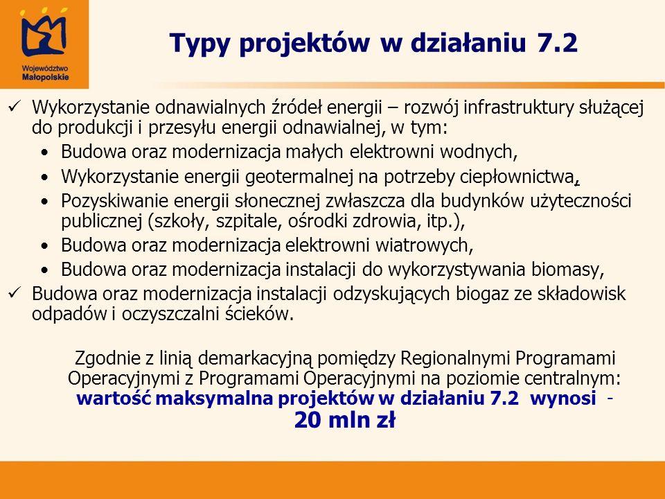 Typy projektów w działaniu 7.2 Wykorzystanie odnawialnych źródeł energii – rozwój infrastruktury służącej do produkcji i przesyłu energii odnawialnej,