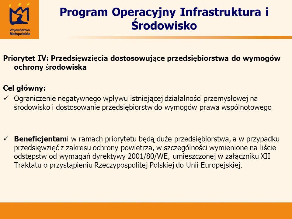 Program Operacyjny Infrastruktura i Środowisko Priorytet IV: Przedsięwzięcia dostosowujące przedsiębiorstwa do wymogów ochrony środowiska Cel główny: