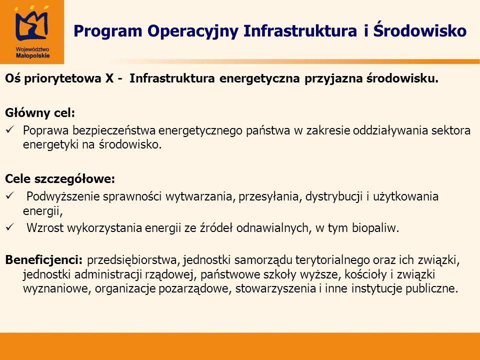 Program Operacyjny Infrastruktura i Środowisko Oś priorytetowa X - Infrastruktura energetyczna przyjazna środowisku. Główny cel: Poprawa bezpieczeństw