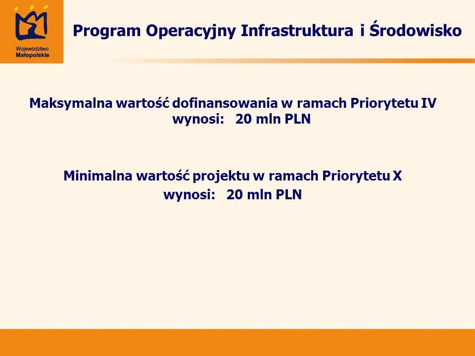 Program Operacyjny Infrastruktura i Środowisko Maksymalna wartość dofinansowania w ramach Priorytetu IV wynosi: 20 mln PLN Minimalna wartość projektu