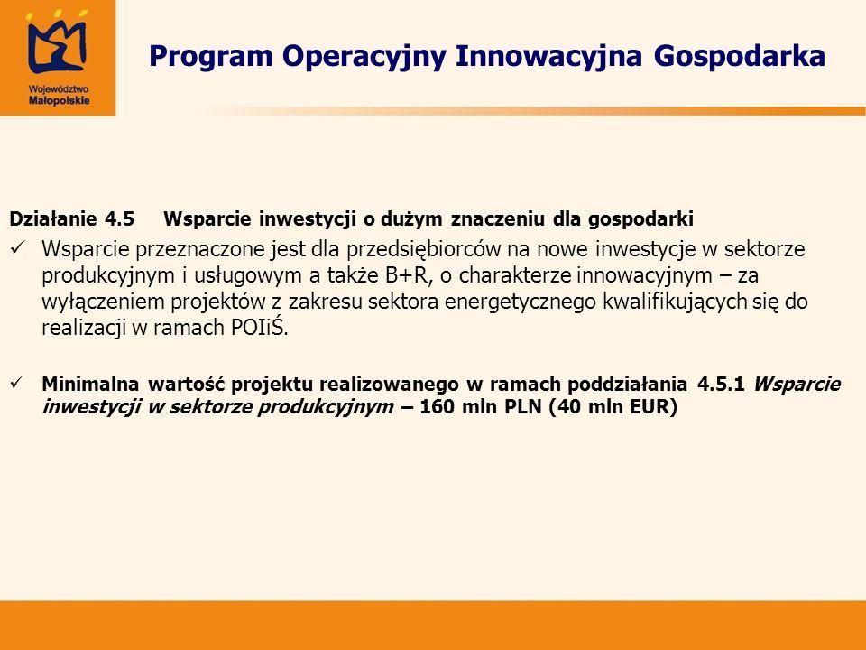 Program Operacyjny Innowacyjna Gospodarka Działanie 4.5 Wsparcie inwestycji o dużym znaczeniu dla gospodarki Wsparcie przeznaczone jest dla przedsiębi