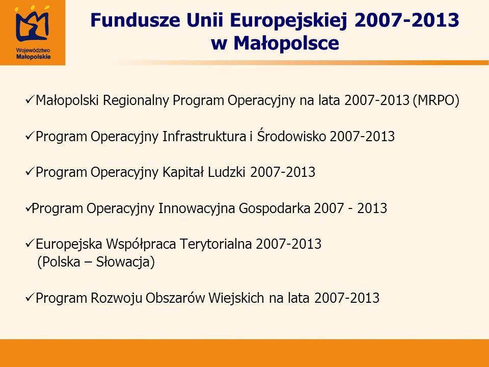 Fundusze Unii Europejskiej 2007-2013 w Małopolsce Małopolski Regionalny Program Operacyjny na lata 2007-2013 (MRPO) Program Operacyjny Infrastruktura