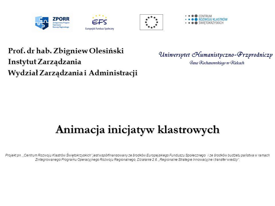 Animacja inicjatyw klastrowych Animacja inicjatyw klastrowych Projekt pn. Centrum Rozwoju Klastrów Świętokrzyskich jest współfinansowany ze środków Eu