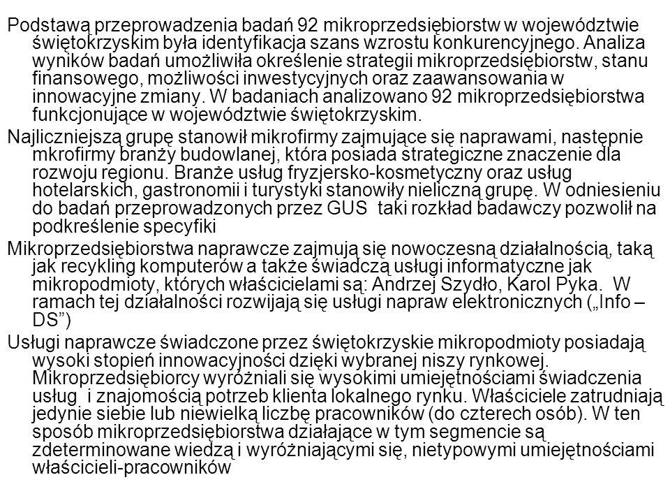 Podstawą przeprowadzenia badań 92 mikroprzedsiębiorstw w województwie świętokrzyskim była identyfikacja szans wzrostu konkurencyjnego. Analiza wyników