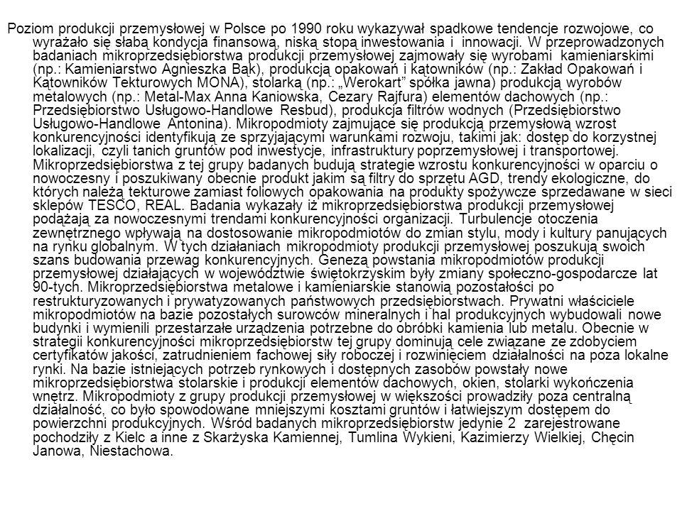 Poziom produkcji przemysłowej w Polsce po 1990 roku wykazywał spadkowe tendencje rozwojowe, co wyrażało się słabą kondycja finansową, niską stopą inwe