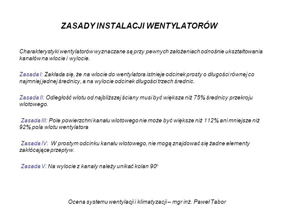 Ocena systemu wentylacji i klimatyzacji – mgr inż. Paweł Tabor ZASADY INSTALACJI WENTYLATORÓW Charakterystyki wentylatorów wyznaczane są przy pewnych