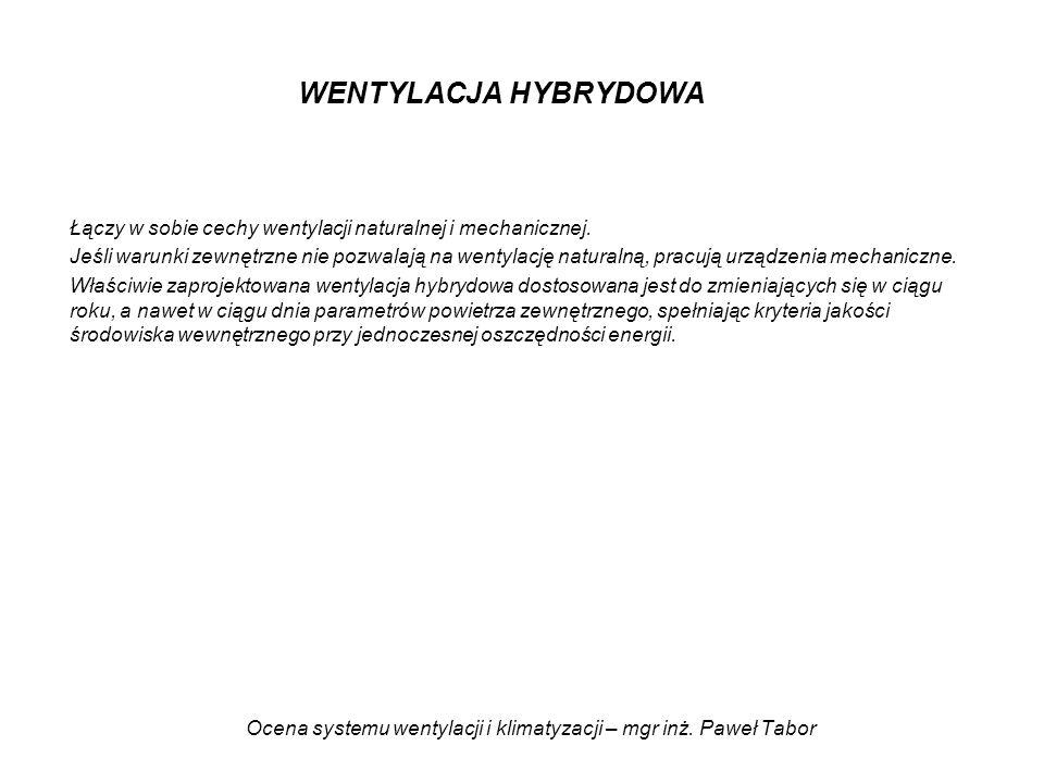Ocena systemu wentylacji i klimatyzacji – mgr inż. Paweł Tabor WENTYLACJA HYBRYDOWA Łączy w sobie cechy wentylacji naturalnej i mechanicznej. Jeśli wa