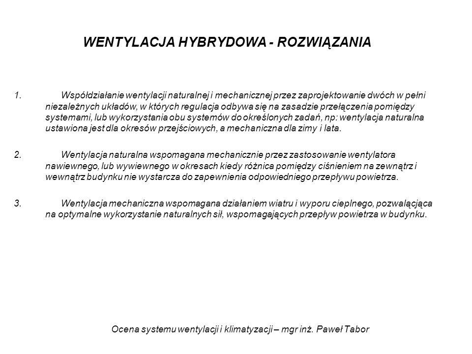 Ocena systemu wentylacji i klimatyzacji – mgr inż. Paweł Tabor WENTYLACJA HYBRYDOWA - ROZWIĄZANIA 1.Współdziałanie wentylacji naturalnej i mechaniczne